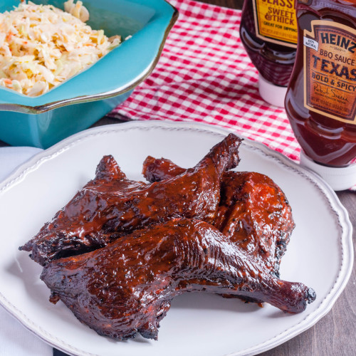 Smoked Chicken Leg Quarters with Heinz BBQ Texas Bold & Spicy BBQ Sauce | Jennifer Cooks